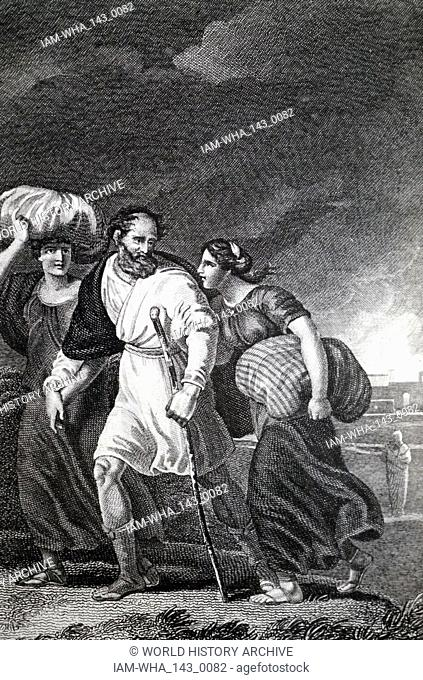 An engraving depicting Lot fleeing from Sodom and Gomorrah when an earthquake circa BC 1900 destroyed them. In the right background is Lot's wife turned to a...