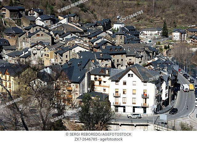 View of Llavorsi village located along river Noguera Pallaresa in province of Lleida Catalonia Spain