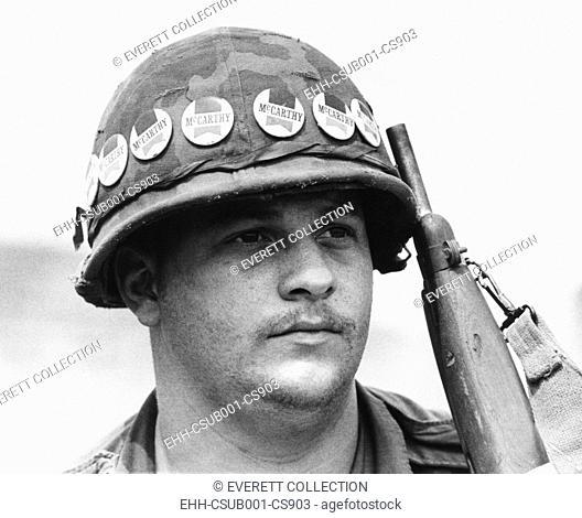 American soldier at Quan Loi, Vietnam, was a supporter of Eugene McCarthy for President. April 20, 1968. Democratic Anti-War Senator Eugene McCarthy won 42