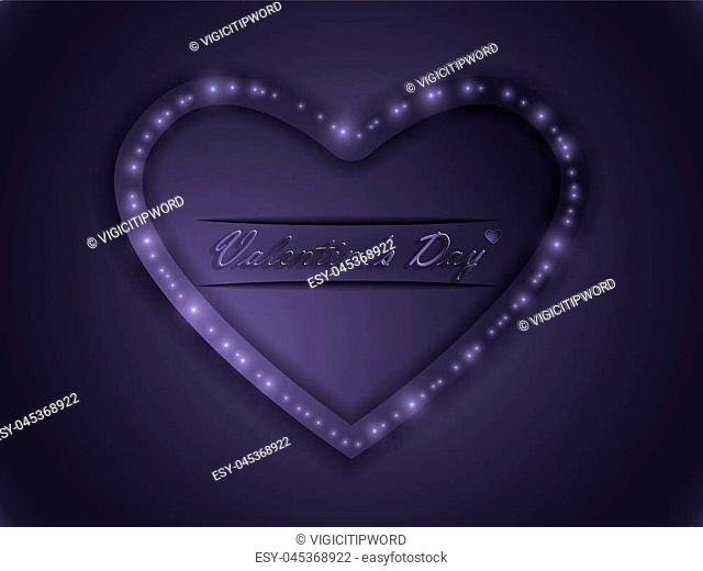 Love. Valentine's Day. Color glowing heart. Declaration of love