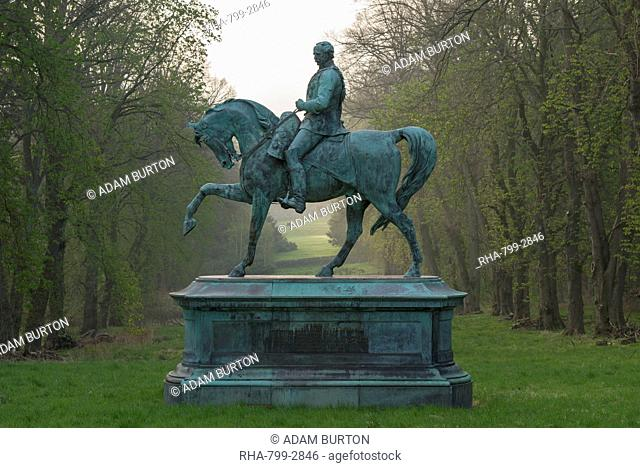 Magnificent statue of Field Marshall Hugh Viscount Gough in the ground of Chillingham Castle, Northumberland, England, United Kingdom, Europe