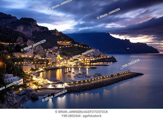 Early morning twilight view of Amalfi, Gulf of Salerno, Campania, Italy