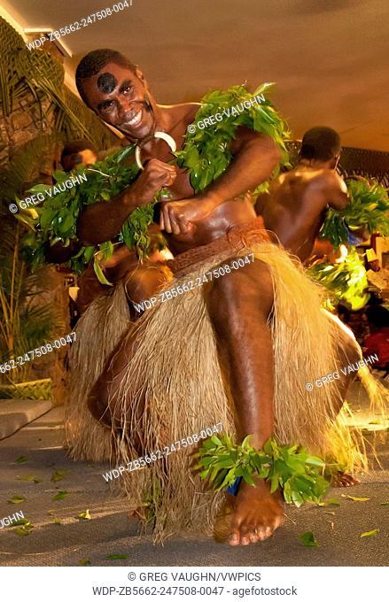 Fijian dancer during Meke at Naviti Resort, Coral Coast, Viti Levu, Fiji