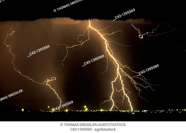 Namibia - Thunderstorm and lightning over the town of Keetmanshoop during the rainy season February  In the evening