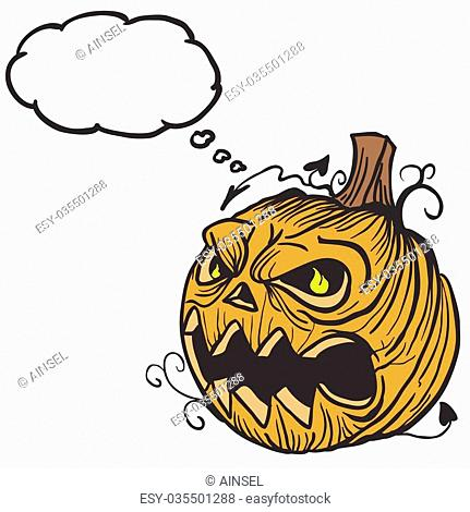 pumpkin head with thought bubble cartoon