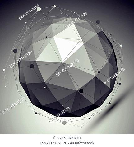 Abstract grayscale 3D sphere with asymmetric grid, vector digital eps8 lattice object placed over dark background. Contrast orb with different undertones
