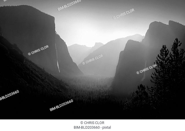 Rock formations in foggy landscape, Yosemite, CA, United States