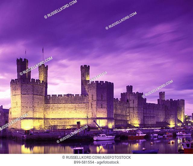 Caernarfon Castle, Gwynedd, Wales, Uk