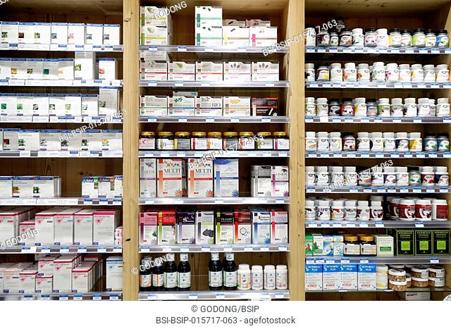 Pharmacy. Medicine in shelves. Natural medicine. France