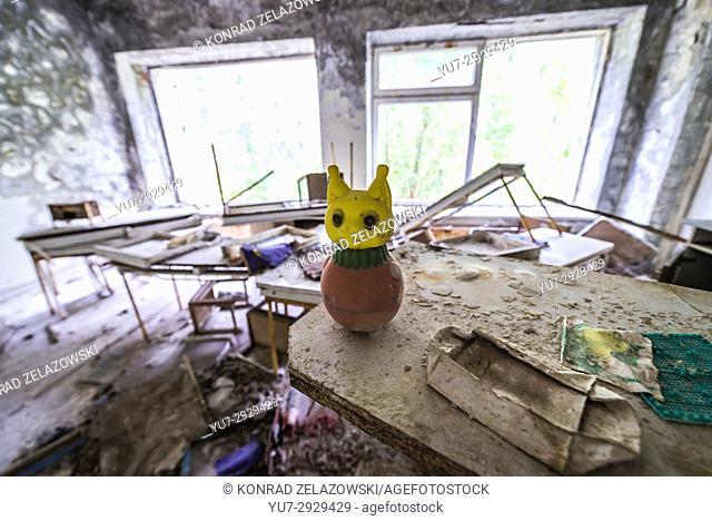"Toy in """"Cheburashka"""" kindergarten No 10 in Pripyat ghost city, Chernobyl Nuclear Power Plant Zone of Alienation in Ukraine"