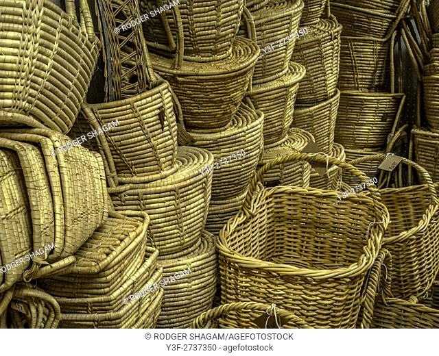Stacked baskets on sale in a market. South Africa