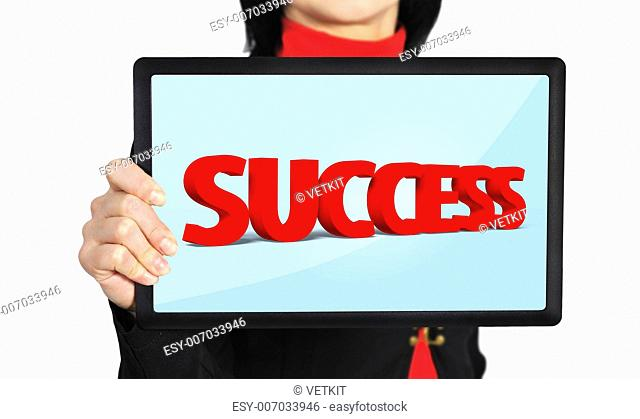 woman holding touch pad with success symbol