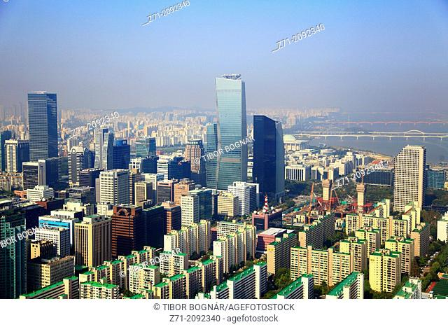 South Korea, Seoul, Yeouido, skyline, aerial view,