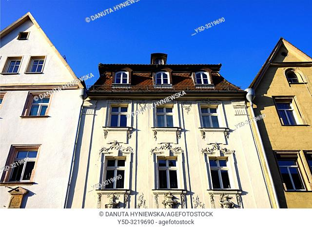 Facades of historic townhouses against blue sky, Maximilianstrasse - main touristic promenade in old town, Bayreuth, capital of Upper Franconia, Bavaria, Bayern