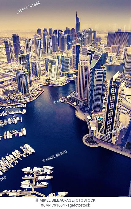 Skyscrapers and yachts in Dubai Marina  Dubai city  Dubai  United Arab Emirates