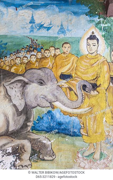 Laos, Luang Prabang, Wat Punluang, paintings of Buddha