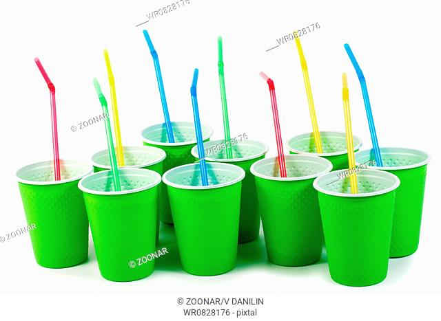 set cups cocktails at party