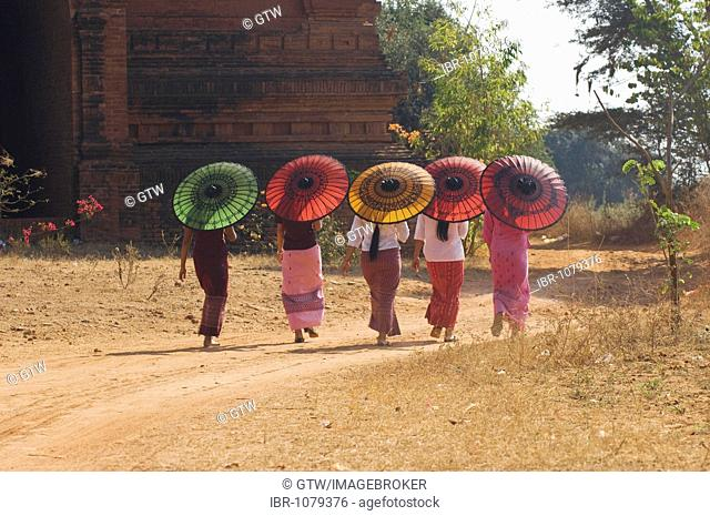 Five young Burmese women walking with coloured parasols, Bagan, Myanmar