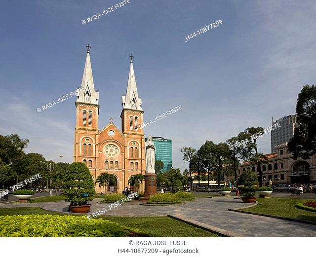 Saigon, Ho Chi Minh town, city, Vietnam, place, space, Notre Dame, church, cathedral, Asia, flowerbed, traveling, place of interest, landmark
