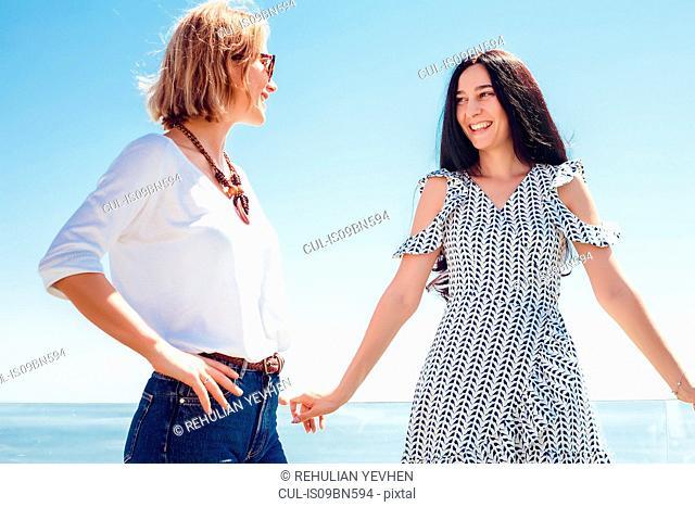 Friends on seaside terrace