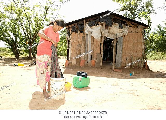 Woman washing clothes in front of her hut, Nivaclé native Americans, Jothoisha, Chaco, Paraguay, South America