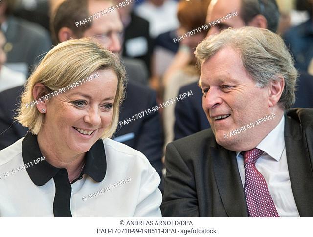 Sabine Kehm, Michael Schumacher's manager, speaking to the former head of Mercedes motorsport Norbert Haug in Marburg, Germany, 10 July 2017