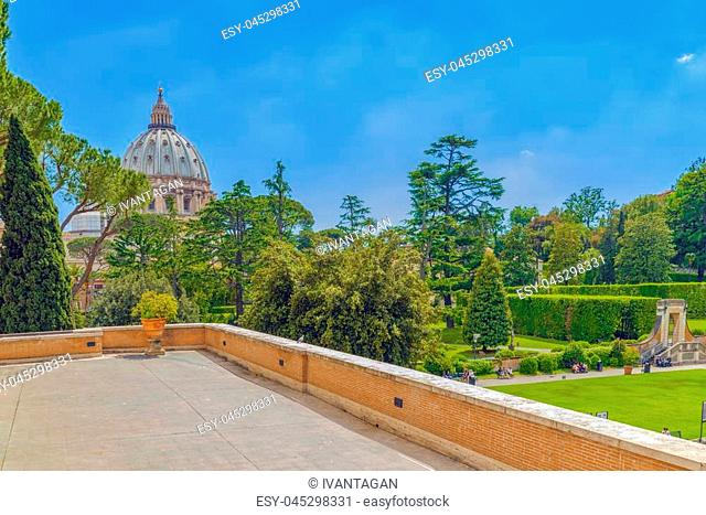 VATICAN, VATICAN- MAY 09, 2017 : Enclosed court of the Vatican, from the window of the Vatican Gallery. Italy