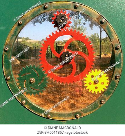 Play gears in a children's playground, Bird Island Park, Ponte Vedra Beach, Florida, USA