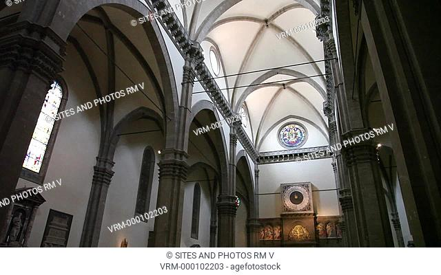 Interior, TILT up, view of the cathedral's nave and southern aisle. Seen is the ceiling arches and the columned-arches between nave and aisle arcades