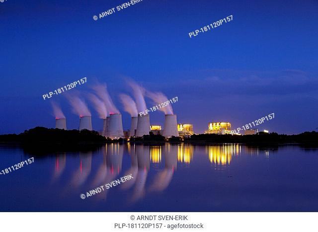 Jänschwalde / Jaenschwalde lignite-fired power station at night, third-largest brown coal power plant in Germany at Brandenburg, Spree-Neiße