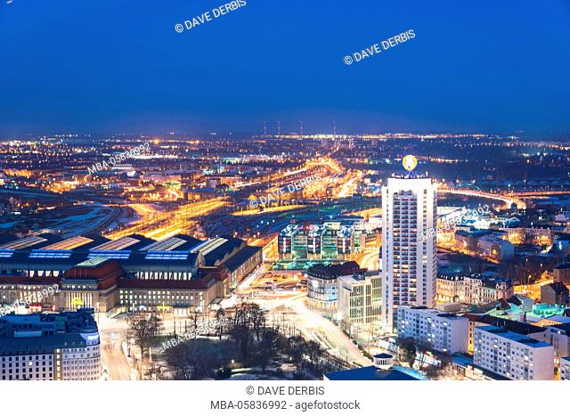 Architecture, outside view, from above, blue hour, Saxon, Leipzig, Germany, Europe