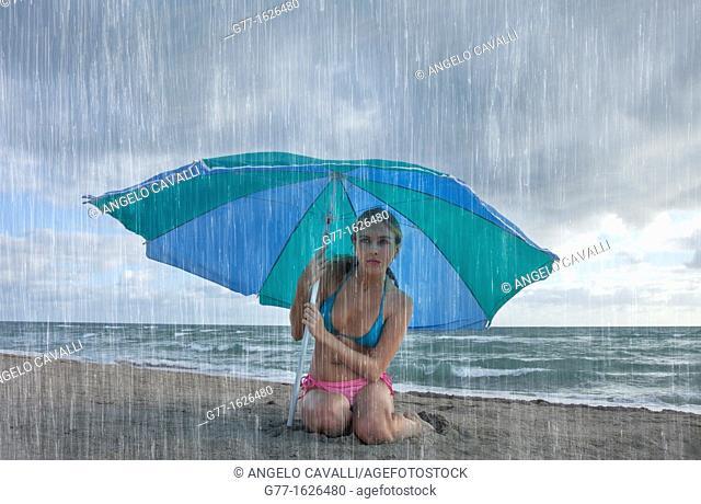 Woman on the beach, Miami, Florida, USA