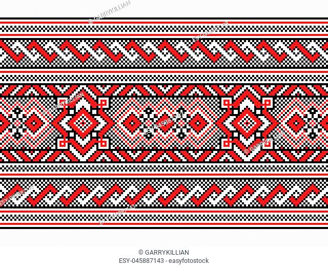 Vector illustration of Ukrainian folk seamless pattern ornament. Ethnic ornament. Border element. Traditional Ukrainian, Belarusian folk art knitted embroidery...