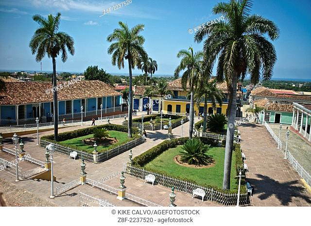 Plaza Mayor in Trinidad, a UNESCO World Heritage Site, with the restored house of Casa de los Sanchez Iznaga, now the Museum of Colonial Architecture