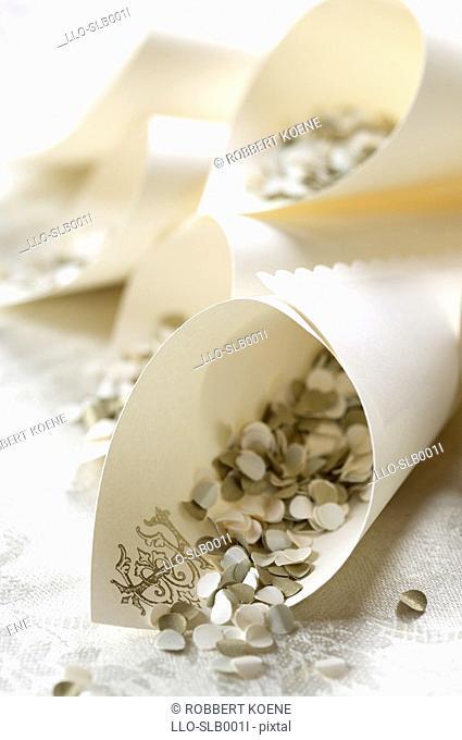Decorative Confetti in Paper Holders  Studio Shot