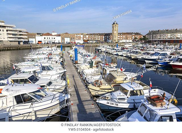Local fleet of small boats in Dunkirk harbour, Dunkirk, France