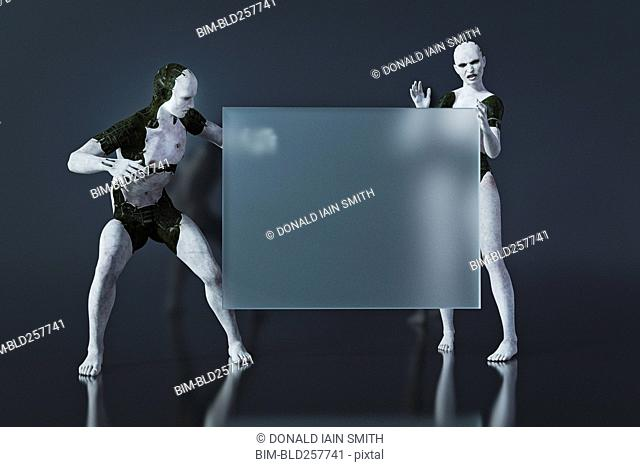Surprised androids looking at blank transparent sign