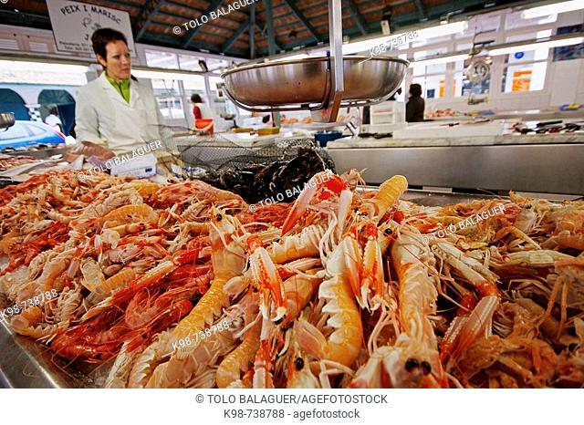 Fish market, Ciutadella. Minorca, Balearic islands, Spain