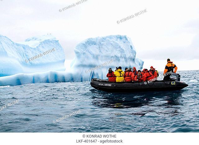 Iceberg and Zodiac, Antarctic Peninsula, Antarctica