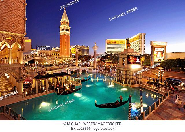 Canale Grande, Grand Canal, Campanile bell tower, gondola, The Strip, 5-star luxury hotel The Venetian Casino, The Mirage, The Bellagio, taking at the blue hour