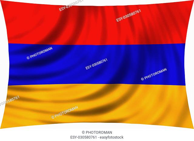 Flag of Armenia waving in wind isolated on white background. Armenian national flag. Patriotic symbolic design. 3d rendered illustration