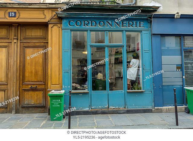 Paris, France, Marais Area, Street Scene, Old Cordonnerie Storefront, now Trendy Snack Bar