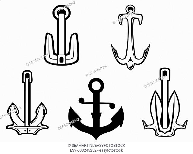 Set of anchorl symbols for design isolated on white background