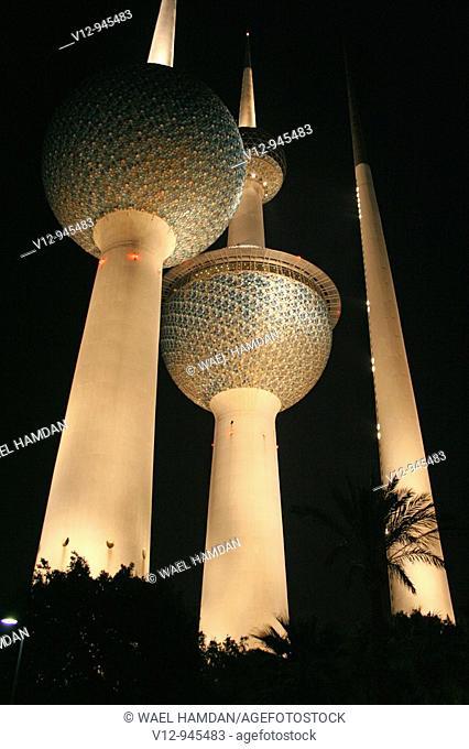 Kuwait Towers at night, Kuwait, Kuwait City