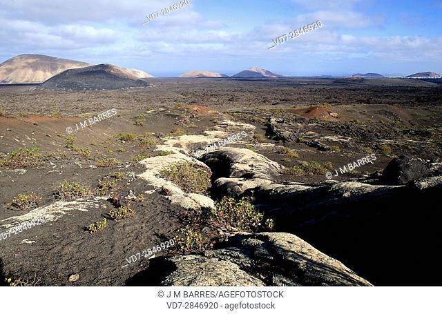 Pico Partido volcano, volcanic tube. Los Volcanes Natural Park, Lanzarote Island, Las Palmas, Canary Islands, Spain