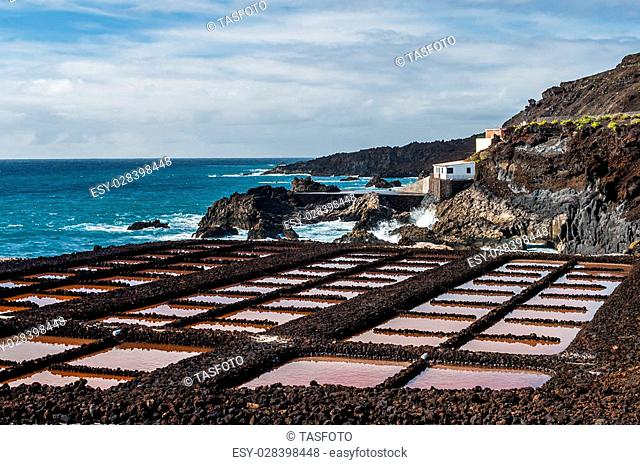 Saltpans and lighthouse of Punta en Faro de de Fuencaliente in the south of the island La Palma, Canary Islands, Spain