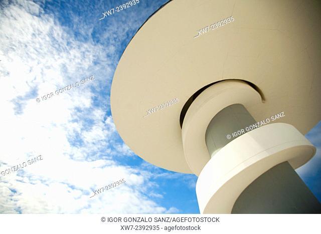Spain, Asturias, Aviles, Centro Niemeyer, Tower against cloudy sky