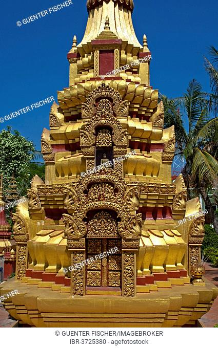 Gilded stupa at Wat Preah Prohm Rath, Siem Reap, Siem Reap Province, Cambodia