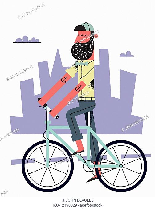 Hipster with beard riding bike in city