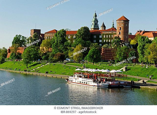 Pleasure boat on the Wisla River, Vistula River, Wawel Hill in Krakow, UNESCO World Heritage Site, Poland, Europe